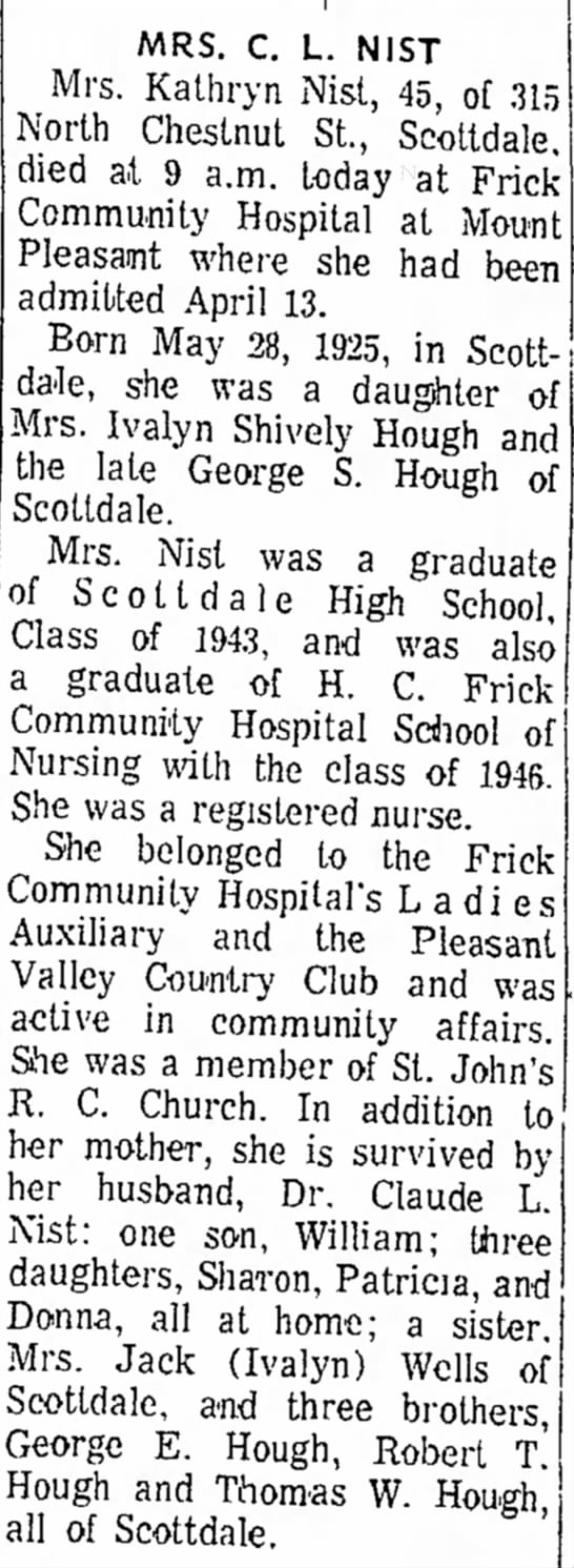 Kathryn (Hough) Nist, obituary, The Daily Courier, April 28, 1971