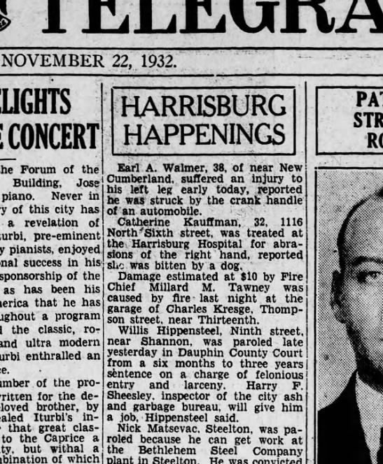 1932 November 22 harrisburg telegraph