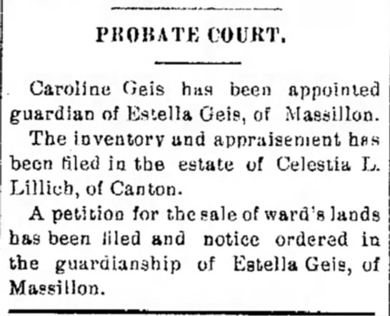 Estella Geis probate court - PUOIUTE COCKT. Caroline Geis has been appointed...