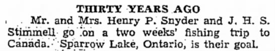 Sparrow Lake News - to TH1KTY YEARS AGO i Mr. and Jlrs. Henry P....