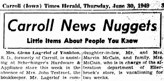 30 Jun 1949 Carrol Iowa Times Herald - C:i rroll (Iowa) Times Herald, Thursday, >lnnc...
