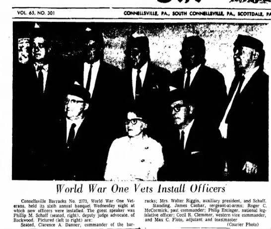 james casbar - world war one vet - installed officer page 1 the daily courier november 2 1967