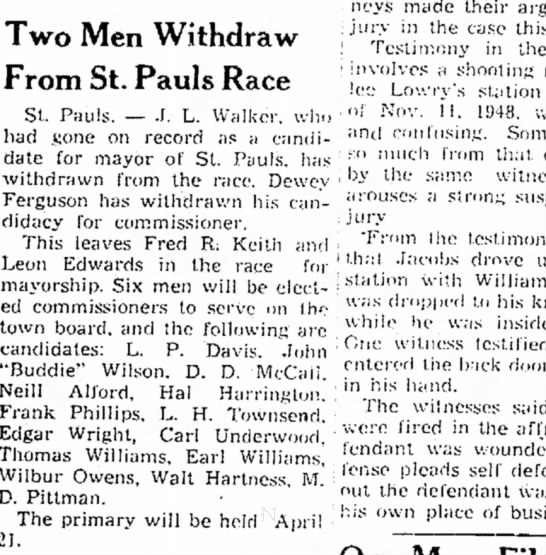 jl walker withdrew from race - Two Men Withdraw From St. Pauls Race St. Pauls....