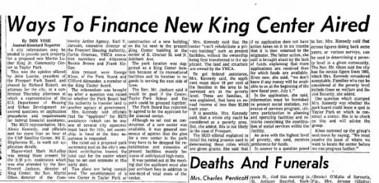 HUD visit to Freeport IL 19609425 Freeport Journal Standard - Ways To Finance New King Center Aired By DON...