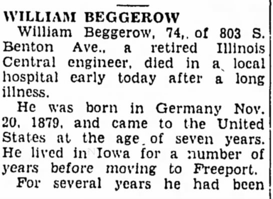 - WILLIAM BEGGEROW William Beggerow, 74,. of 803...