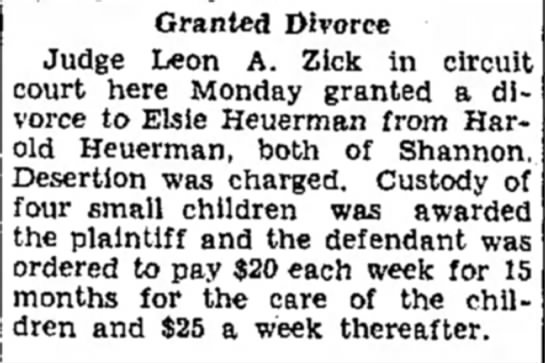 Herman and Elsie's divorce - Granted Divorce Judge Leon A. Zick in circuit...