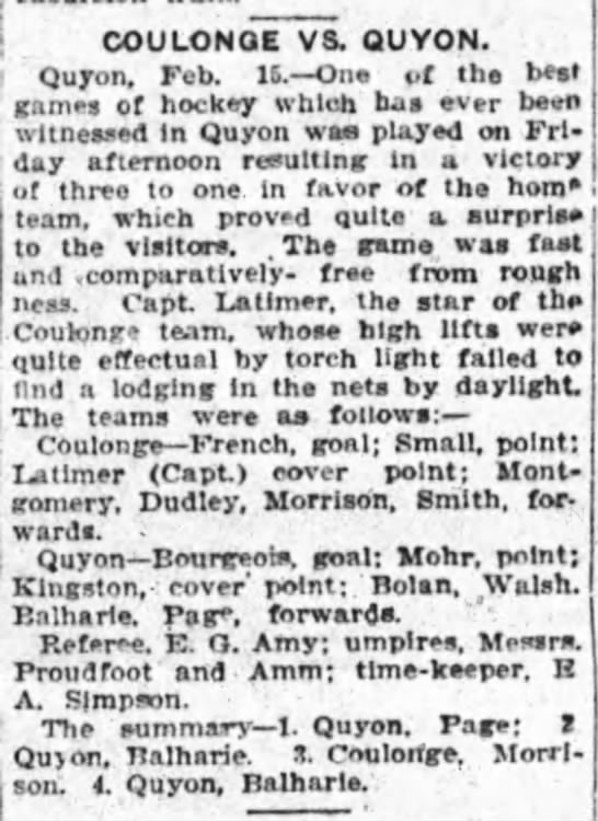 hockey, coulonge vs quyon, referee: amm - , COULONOE VS. QUVON. I Quyon. Feb. 16. On of...