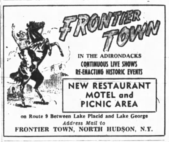 Frontier Town News - ft! THE ADIRONDACKS coNnnuous im shows...