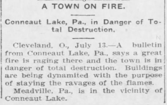Arizona Republican 7/14/1906 - A TOWN ON FIRE. Conneaut Lake, Pa., in Danger...