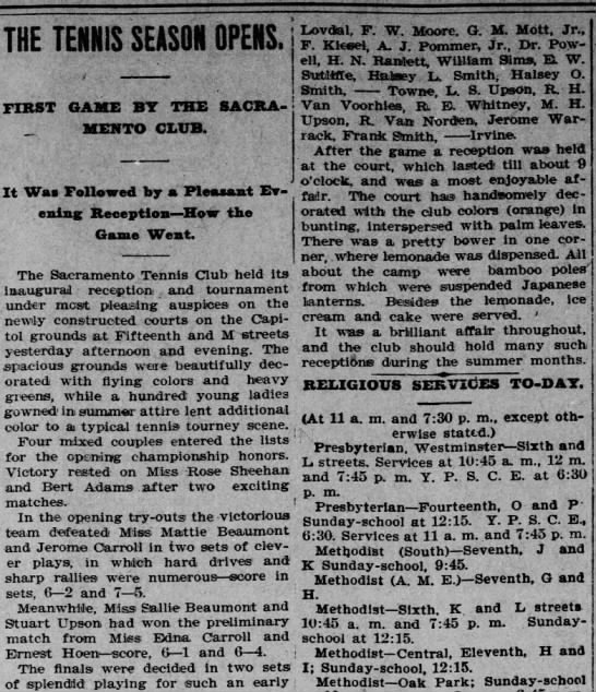 W. E. Lovdal, 18 June 1899, Sacramento Record-Union, Pg 8, Col. 1 & 2 - THE TENNIS SEASON OPENS. FIRST GAME BY THE...