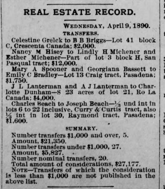Celestine Grelck real estate transfer 9 Apr 1890 - REAL ESTATE RECORD. Wednesday, April 9,1890....