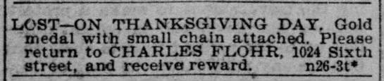 Charles Flohr, Lost Dog, 29 Oct 1898, The Record-Union, Sacramento, CA - LOST—ON THANKSGIVING DAY. Gold medal with small...