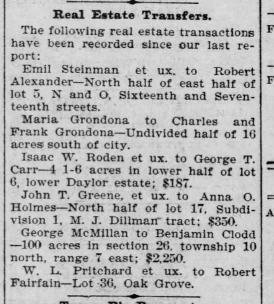 Isaac W. Roden 1898 - Real Estate Transfers. The following real...