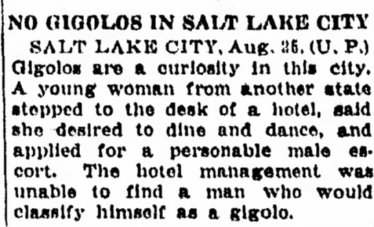 No Salt Lake City Men Classify Themselves as Gigolos.  - NO (UGOU)S IN SAIVT LAKE CITY SALT LAKK CITY,...