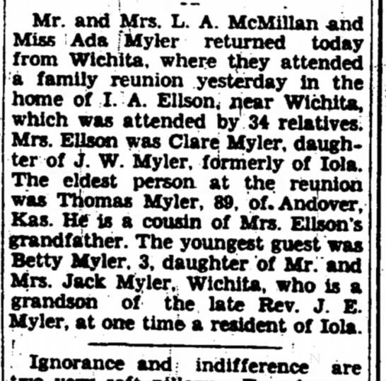 Myler family reunion THM cousin of JWMyler father 1931 KS - Mr. and Mrs. L. A. McMiilan and Miss Ada fMyler...