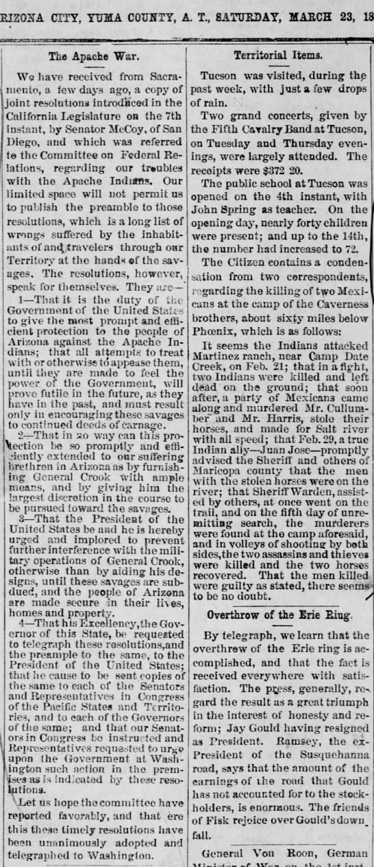 Contra apaches. The Arizona Sentinel (Yuma, Arizona)    23 Mar 1872, Sat   • Page 1 - AEISOI'TA CITY, YUMA COTJHTY, A. T., SATURDAY,...