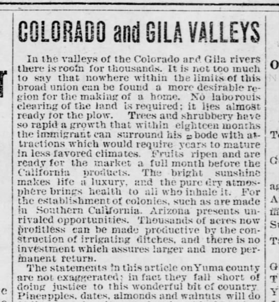 Gila and Colorado reivers. The Arizona Sentinel (Yuma, Arizona)    15 Mar 1905, Wed    Page 1 - G0L0BA0Q and GILA VALLEYS In the valleys of the...