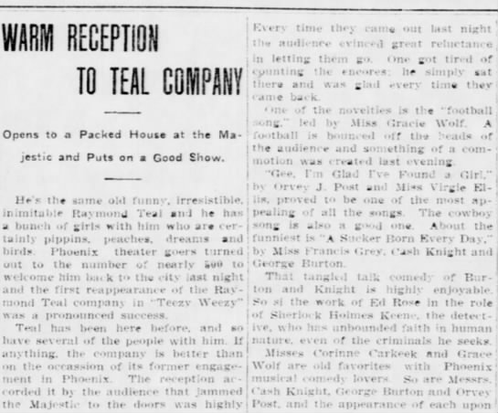 March 17 1911 Phoenix - WARM RECEPTION TO TEAL GOIHPANY: Opens to a...