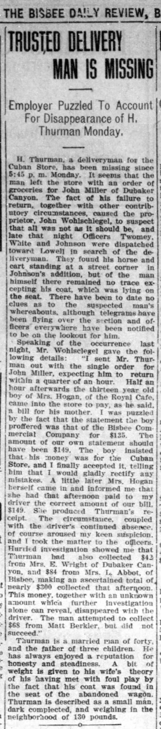 Bisbee Daily Review, 14 October 1908, page 5 - f HE BISBEE DAILY REVIEW, TRUSSED DELIVERY IS...