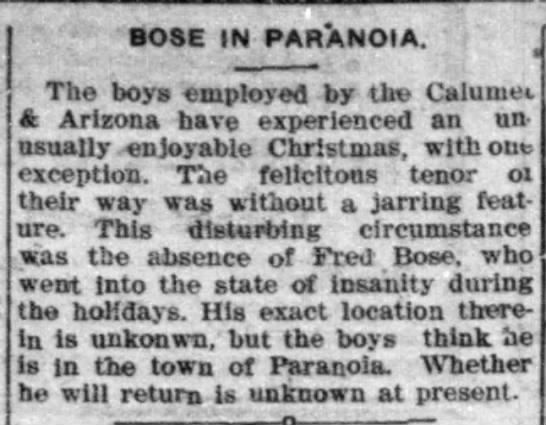 Fred Bose - i bose in paranoia. J The boys -employed by tho...
