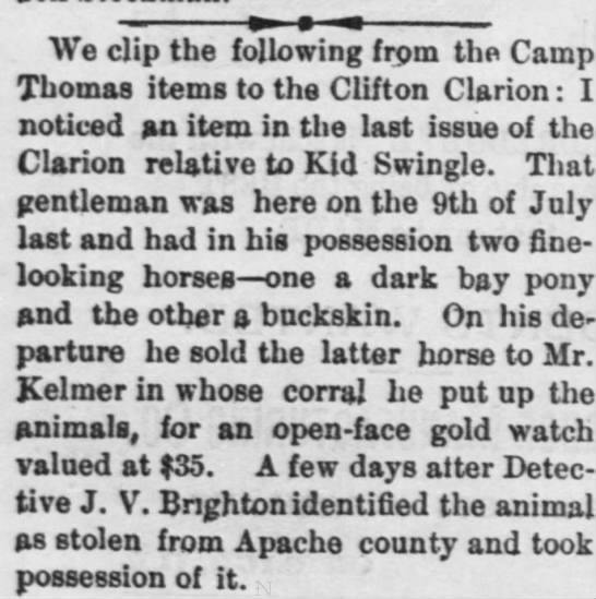 Detective Brighton identifies and takes possession of stolen Apache county pony. - We clip the following from the Camp Thomas...