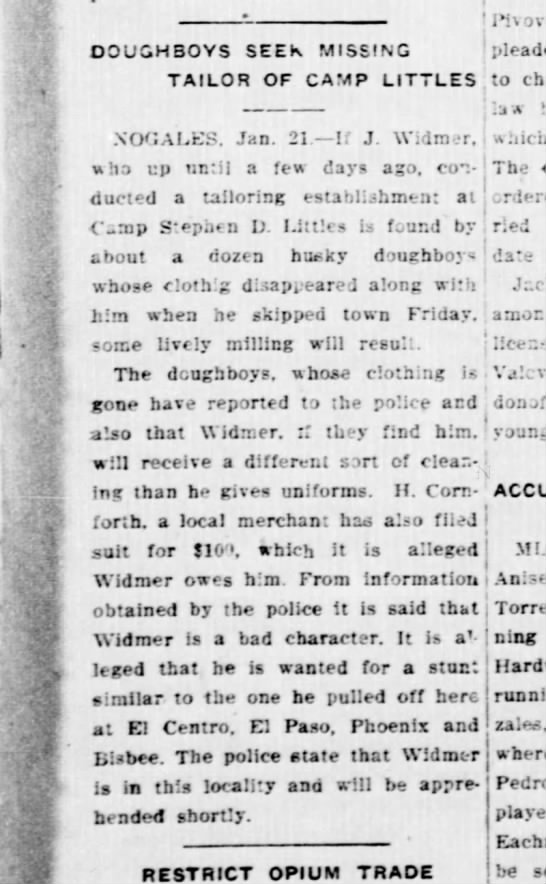 widmer - DOUGHBOYS SEEK MISSING (pleaded TAILOR OF CAMP...