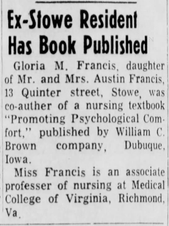 Francis, Gloria book published - Ex-Slowe Resident Has Book Published Gloria M....