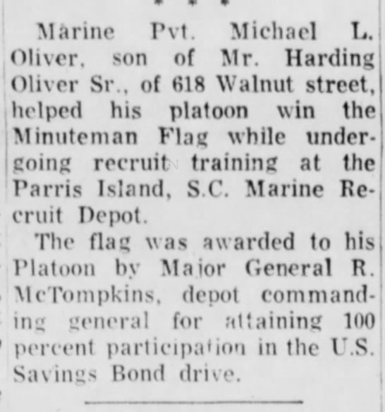 Michael Oliver Marines - Marine Pvt. Michael L. Oliver, son of Mr....