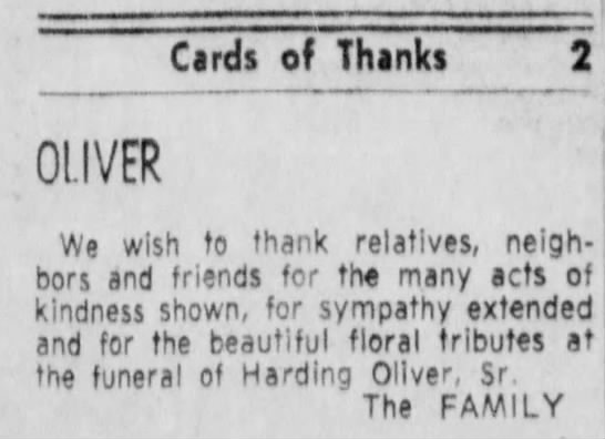Harding Oliver death thanks - Cards of Thanks OLIVER We wish to thank...