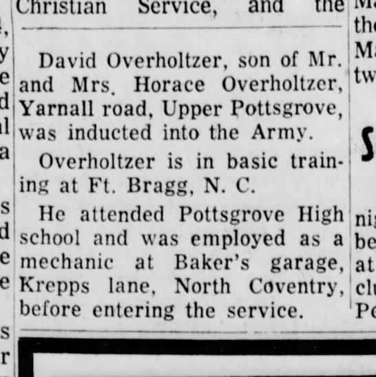 David Irvin Overholtzer stationed in Germany - David Overholtzer, son of Mr. an(j ^jrs Horace...