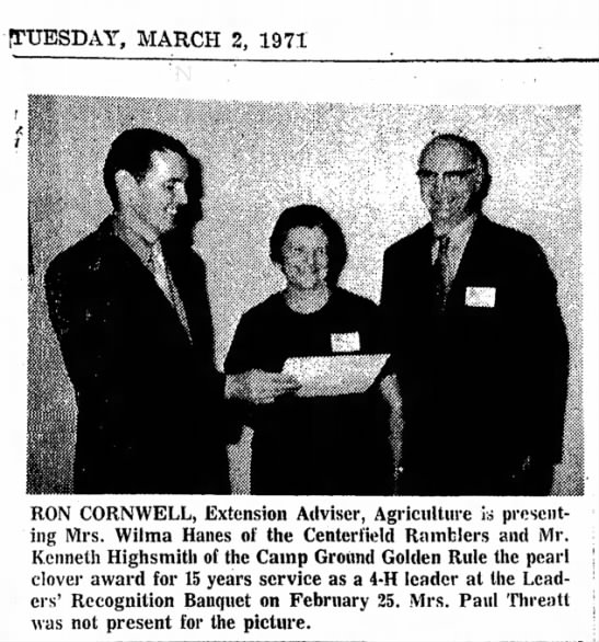 March 2, 1971--Ron Gives a Clover Award - [TUESDAY, MARCH 2, 1971 RON CORNWELL, Extension...