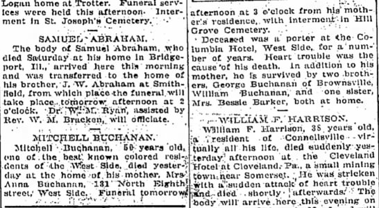mitchell buchanan obit - mention a high ithe LoRan home at Trotter....
