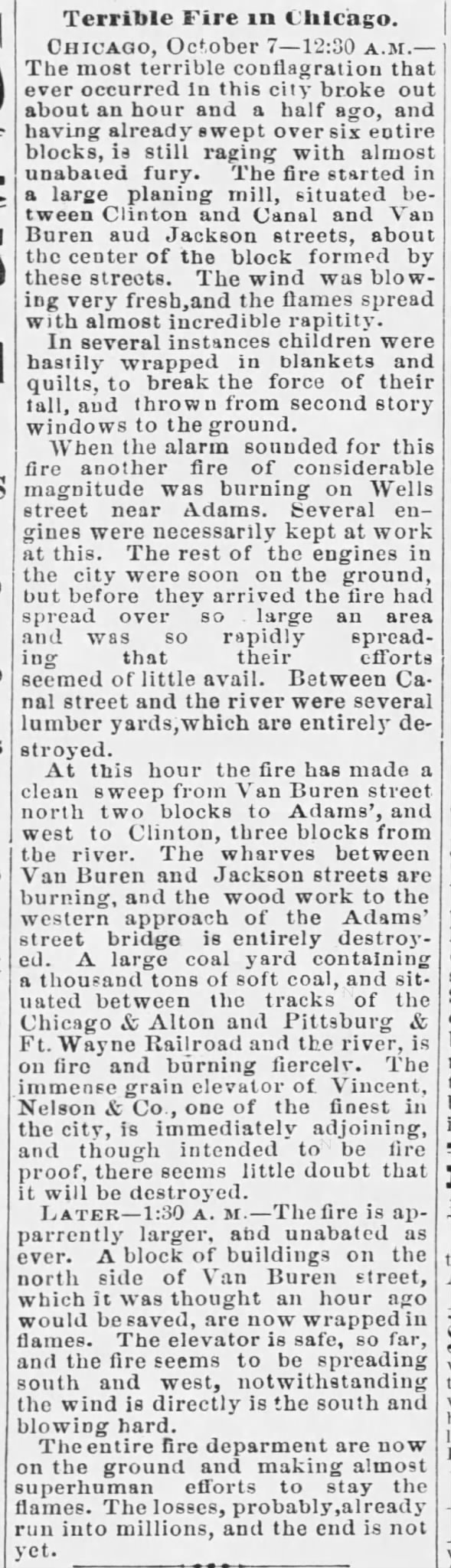 Terrible Fire in Chicago 1871