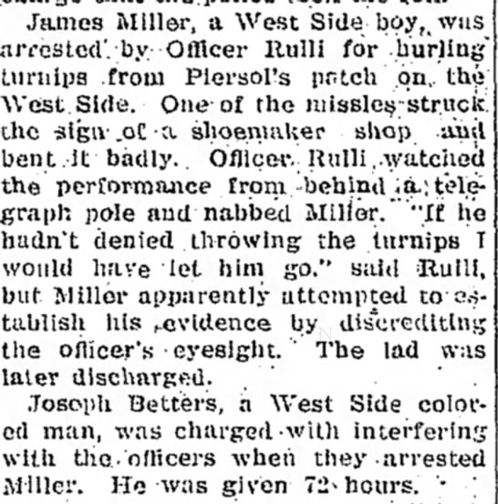 turnip arrest - com the general James Miller, a West Side bey t...