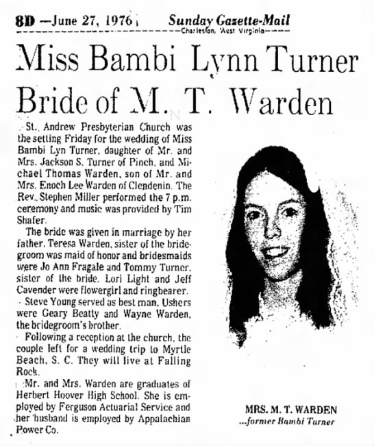 Warden, Michael Thomas and Bambi Lynn Turner, Marriage - 8D --June 27, 1976 t Sunday Gasette-Mail...