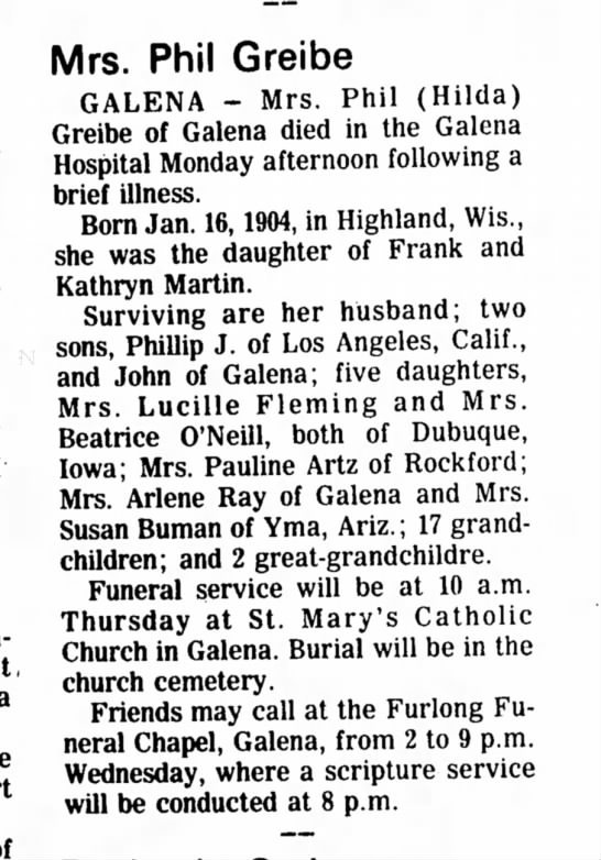 Mrs Phil Greibe obituary 1974
