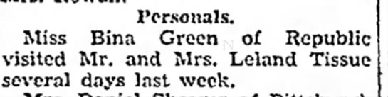 bina green visited mr and mrs leland tissue the daily courier july 20 1938 page 10