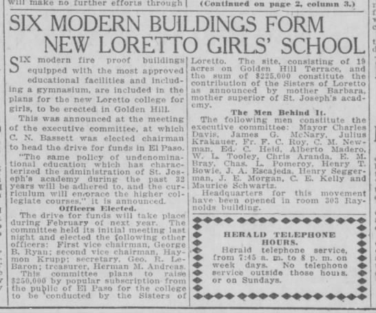 New Loretto Girls' School - I will make no further efforts through...