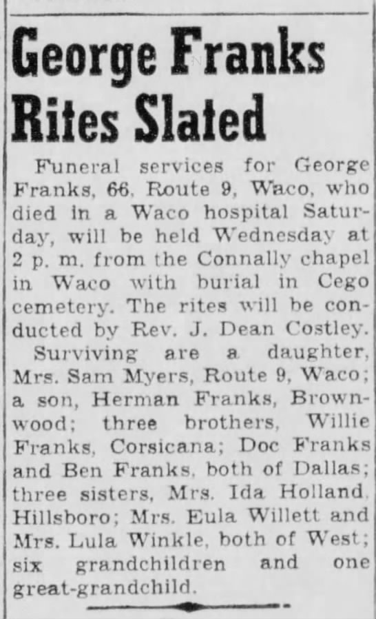 George Frank obit - George Franks Rites Slated Funeral services for...