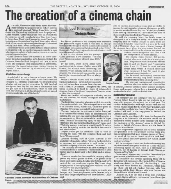 Creation of Cinemas Guzzo