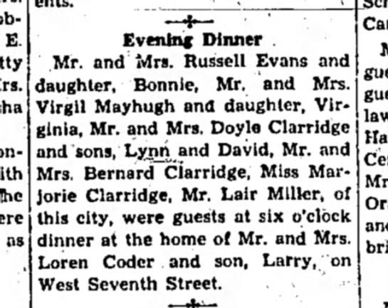 Evening Dinner at the home of Mr./Mrs. Loren Coder 26 Dec 1946