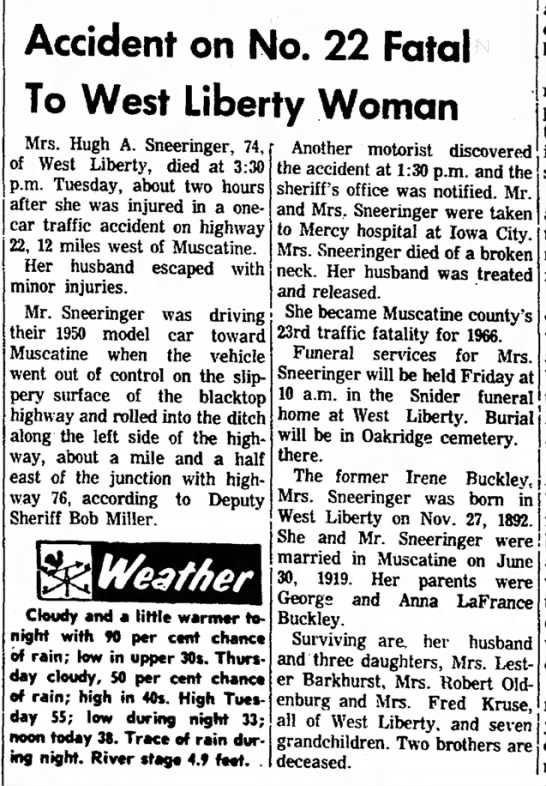 Irene Buckley Sneeringer obit - Accident on No. 22 Fatal To West Liberty Woman...