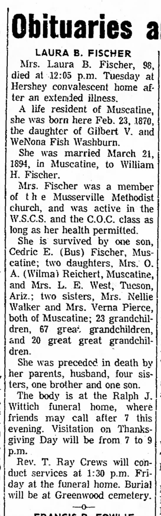 Laura Washburn Fischer obit - Obituaries LAURA B. FISCHER Mrs. Laura B....