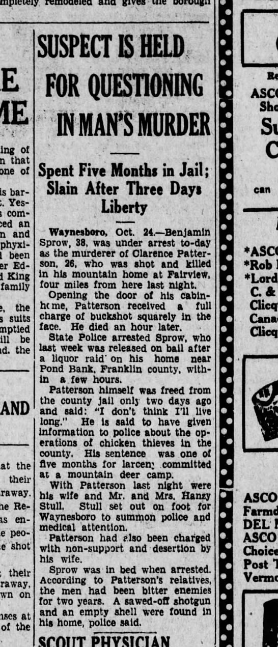 1929 October 24 Murder of Clarence Patterson - , of that one of barber Yesterday, coming an...
