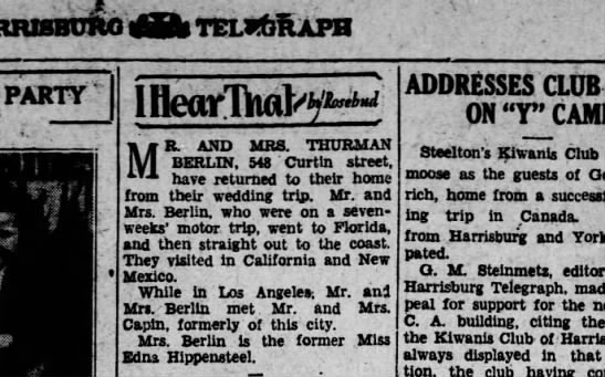 1929 November 13 Hbg Telegraph - nXiuicnnnu) CZb telkafix PARTY Iftj i MR. AND...