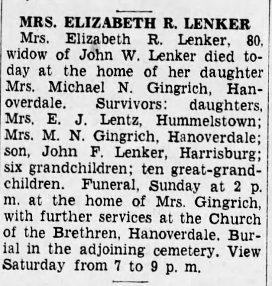 Harrisburg Telegraph Harrisburg Pennsylvania Thursday 3 Sept 1936 - MRS. ELIZABETH R. LENKER Mrs. Elizabeth R....