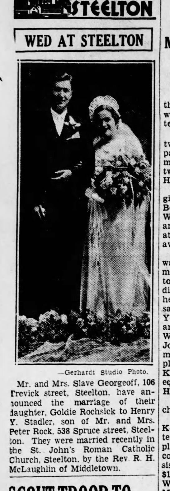 1935 june 25 Harrisburg Telegraph - I WED AT STEELTON Gerbardt Studio Photo. Mr....