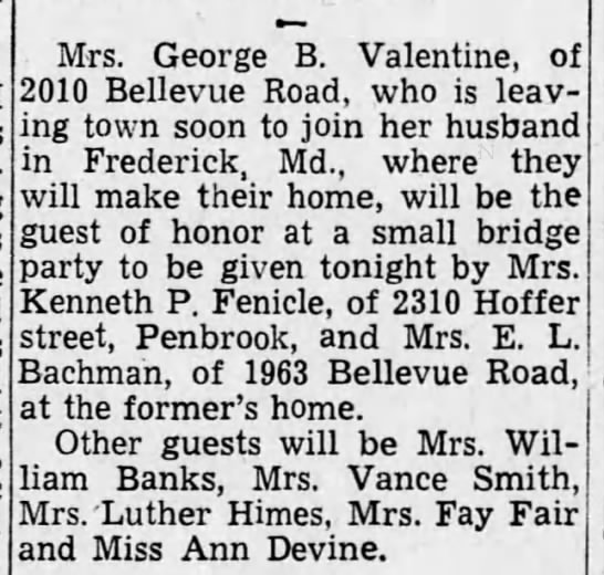 - Mrs. George B. Valentine, of 2010 Bellevue...