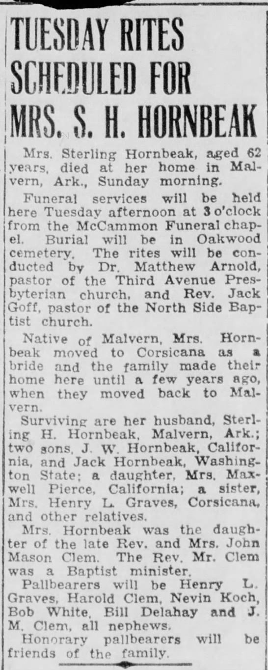 hornbeak mrs sterling died  - | 1 TUESBAÏ RITES SCHEDULED FOR . S. H....