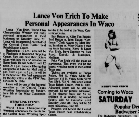 waco tx 86 06 08 w - Lance Von Erich To Make Personal Appearances In...